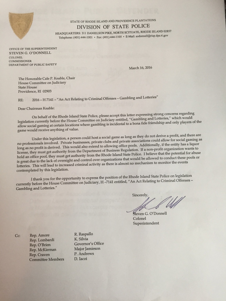 Letter from Col. Steven O'Donnell to House Judiciary Committee