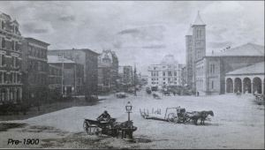 A photo of Kennedy Plaza from before 1900 shows horses pulling carts.