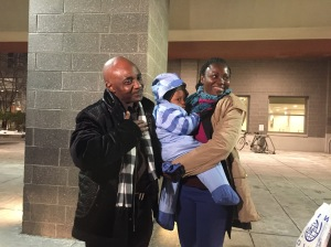 Sylvie Vambili and her son Dombeni are reunited with husband and father Claude Buana Tzchiiza.