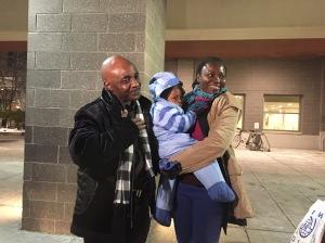 Sylvie Vambili and her son Dombeni are reunited with husband and father Claude Buana Tzchiiza.
